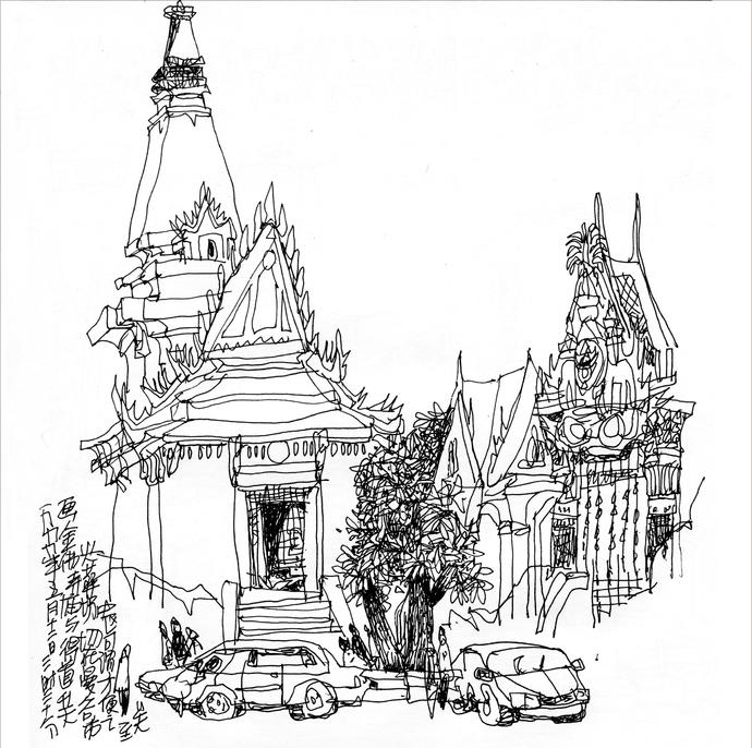 泰国曼谷手绘景点图